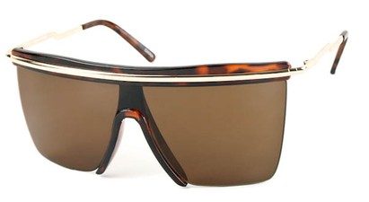 Angle of SW Shield Style #1801 in Brown Tortoise Frame with Amber Lenses, Women's and Men's
