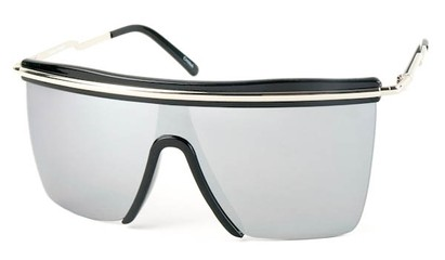 Angle of SW Shield Style #1801 in Black/Silver Frame with Silver Mirrored Lenses, Women's and Men's