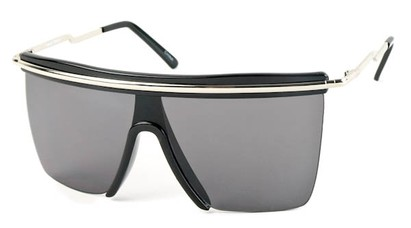 Angle of SW Shield Style #1801 in Black/Silver Frame with Blue/Grey Lenses, Women's and Men's