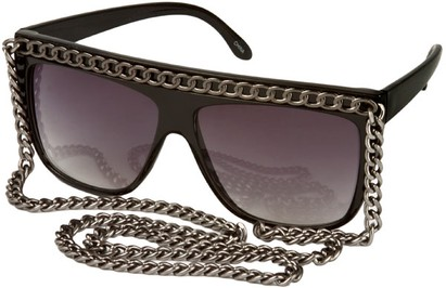 Angle of SW Celebrity Style #520 in Black Frame with Dk Grey Chain, Women's and Men's