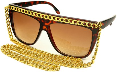 Angle of SW Celebrity Style #520 in Tortoise Brown Frame with Gold Chain, Women's and Men's