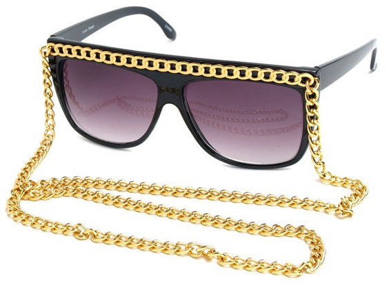 Angle of SW Celebrity Style #520 in Black Frame with Gold Chain, Women's and Men's