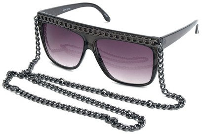 Angle of SW Celebrity Style #520 in Grey Frame with Grey Chain, Women's and Men's