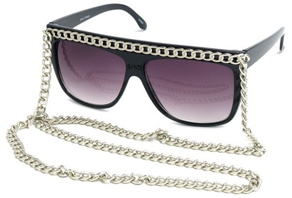 Angle of SW Celebrity Style #520 in Black Frame with Silver Chain, Women's and Men's