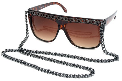 Angle of SW Celebrity Style #520 in Tortoise Frame with Grey Chain, Women's and Men's