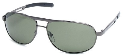 Angle of SW Polarized Aviator Style #2455 in Grey Frame with Green Lenses, Women's and Men's