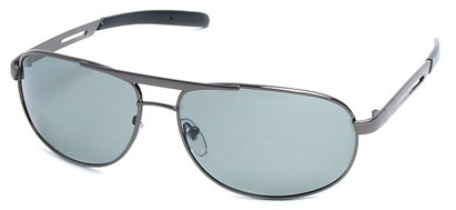 Angle of SW Polarized Aviator Style #2455 in Grey Frame with Smoke Lenses, Women's and Men's
