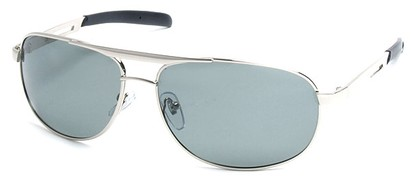 Angle of SW Polarized Aviator Style #2455 in Silver Frame with Smoke Lenses, Women's and Men's