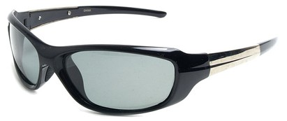 Angle of SW Polarized Style #1959 in Black Frame with Smoke Lenses, Women's and Men's