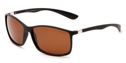 Angle of Aruba #8570 in Black Frame with Amber Lenses, Women's and Men's Sport & Wrap-Around Sunglasses