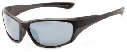 Angle of Champion #8591 in Black Frame with Smoke Lenses, Women's and Men's Sport & Wrap-Around Sunglasses