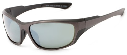 Angle of Champion #8591 in Black/Grey Frame with Green Lenses, Women's and Men's Sport & Wrap-Around Sunglasses
