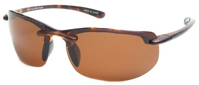 Angle of Pipeline #1371 in Matte Tortoise Frame with Amber Lenses, Men's Sport & Wrap-Around Sunglasses