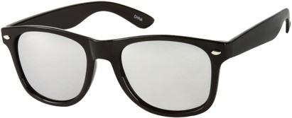 Angle of Wanderlust #185 in Black with Silver Mirrored Lenses, Women's and Men's Retro Square Sunglasses