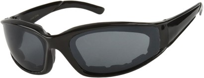 Angle of SW Padded Sport Style #9174 in Glossy Black Frame with Grey Lenses, Women's and Men's