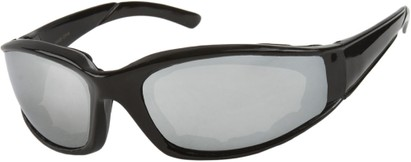 Angle of SW Padded Sport Style #9174 in Glossy Black Frame with Silver Mirrored Lenses, Women's and Men's