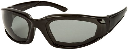Angle of Montgomery #441 in Glossy Black Frame with Smoke Lenses, Women's and Men's Sport & Wrap-Around Sunglasses