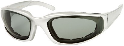 Angle of Montgomery #441 in Silver Frame with Smoke Lenses, Women's and Men's Sport & Wrap-Around Sunglasses