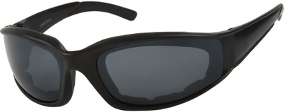 Angle of SW Padded Sport Style #9174 in Matte Black Frame with Grey Lenses, Women's and Men's
