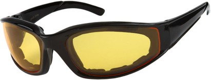Angle of SW Padded Sport Style #9174 in Glossy Black Frame with Amber Lenses, Women's and Men's