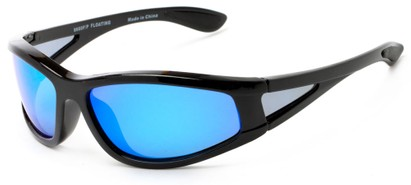 Angle of Biscayne #8660 in Glossy Black Frame with Blue Mirrored Lenses, Women's and Men's Sport & Wrap-Around Sunglasses
