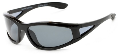 Angle of Biscayne #8660 in Glossy Black Frame with Grey Lenses, Women's and Men's Sport & Wrap-Around Sunglasses