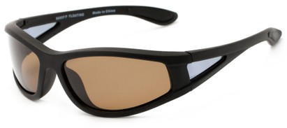 Angle of Biscayne #8660 in Matte Black Frame with Amber Lenses, Women's and Men's Sport & Wrap-Around Sunglasses