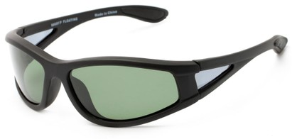 Angle of Biscayne #8660 in Matte Black Frame with Green Lenses, Women's and Men's Sport & Wrap-Around Sunglasses
