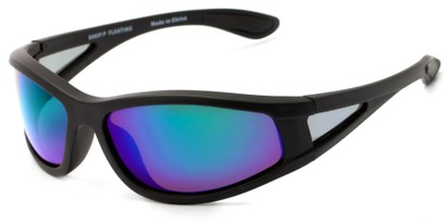 Angle of Biscayne #8660 in Matte Black Frame with Green/Purple Mirrored Lenses, Women's and Men's Sport & Wrap-Around Sunglasses