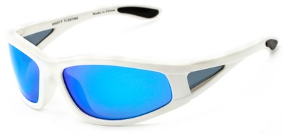Angle of Biscayne #8660 in Glossy White Frame with Blue Mirrored Lenses, Women's and Men's Sport & Wrap-Around Sunglasses