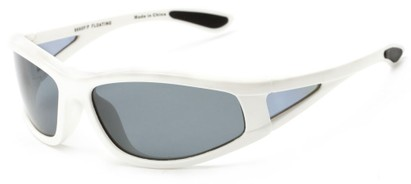 Angle of Biscayne #8660 in Glossy White Frame with Smoke Lenses, Women's and Men's Sport & Wrap-Around Sunglasses