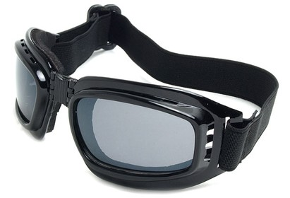Angle of SW Folding Goggle Style #66 in Glossy Black Frame with Smoke Lenses, Women's and Men's