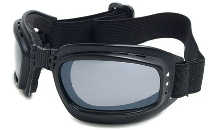Angle of SW Folding Goggle Style #66 in Matte Black Frame with Smoke Lenses, Women's and Men's