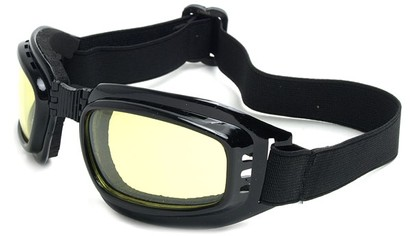 Angle of SW Folding Goggle Style #66 in Glossy Black Frame with Yellow Lenses, Women's and Men's