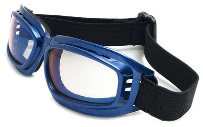 Angle of SW Folding Goggle Style #66 in Blue Frame with Mirrored Lenses, Women's and Men's