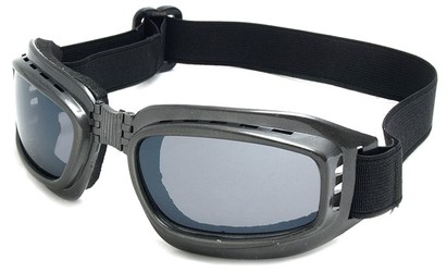 Angle of SW Folding Goggle Style #66 in Grey Frame with Smoke Lenses, Women's and Men's
