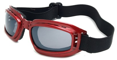 Angle of SW Folding Goggle Style #66 in Red Frame with Smoke Lenses, Women's and Men's