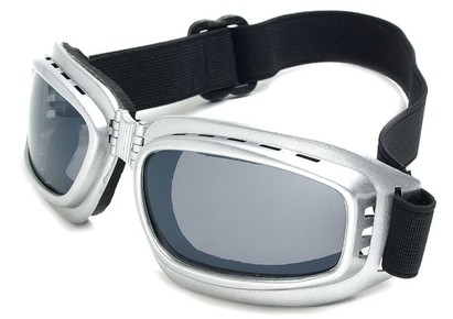 Angle of SW Folding Goggle Style #66 in Silver Frame with Smoke Lenses, Women's and Men's