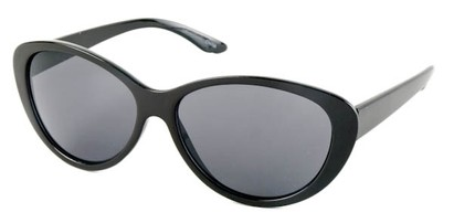 Angle of SW Cat Eye Style #1767 in Black Frame with Blue/Grey Lenses, Women's and Men's