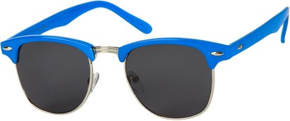 Angle of Midway #1603 in Royal Blue Frame with Smoke Lenses, Women's and Men's Browline Sunglasses