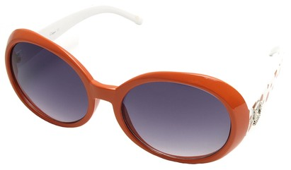 Angle of SW Polka Dot Style #742 in Orange and White Frame, Women's and Men's