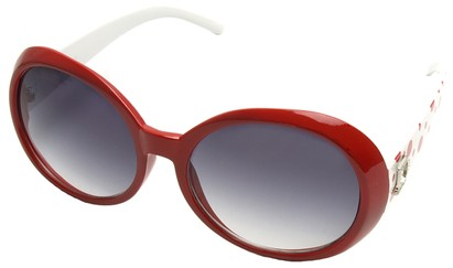 Angle of SW Polka Dot Style #742 in Red and White Frame, Women's and Men's