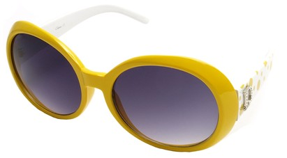 Angle of SW Polka Dot Style #742 in Yellow and White Frame, Women's and Men's
