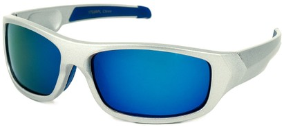 Angle of Ripcord #2194 in Silver Frame with Blue Mirrored Lenses, Men's Sport & Wrap-Around Sunglasses
