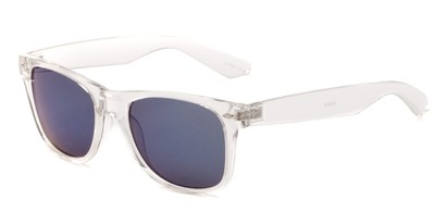 Angle of Jackson in Clear Frame with Blue Mirrored Lenses, Women's and Men's Retro Square Sunglasses