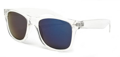 Angle of Jackson in Clear Frame with Purple/Multi Mirrored Lenses, Women's and Men's Retro Square Sunglasses