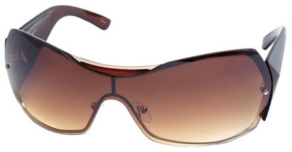 Angle of SW Shield Style #749 in Brown and Gold Frame, Women's and Men's