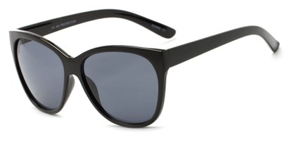 Angle of Elan #8800 in Black Frame with Grey Lenses, Women's Cat Eye Sunglasses