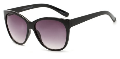 Angle of Elan #8800 in Black Frame with Smoke Lenses, Women's Cat Eye Sunglasses