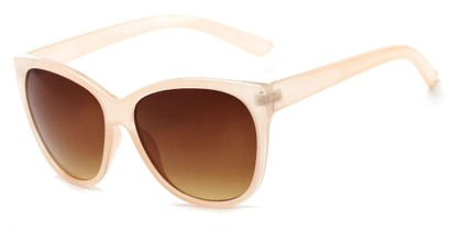 Angle of Elan #8800 in Cream Frame with Amber Lenses, Women's Cat Eye Sunglasses
